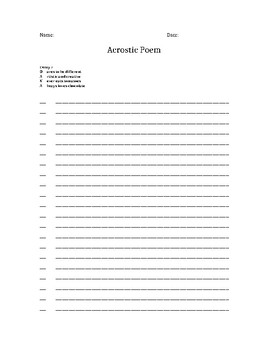 Acrostic Poem Template