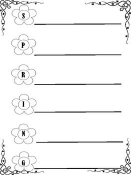 Acrostic Poem Template (SPRING SAMPLE)