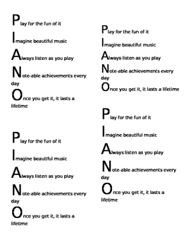 "Acrostic Poem for ""Piano"""