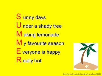 Acrostic Poem Introductory Lesson
