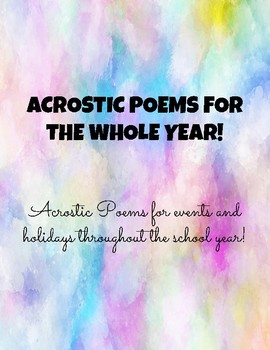 Acrostic Poems - For the Whole Year