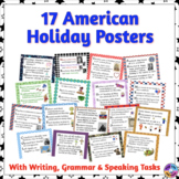 American Holiday Posters with Writing & Grammar Tasks