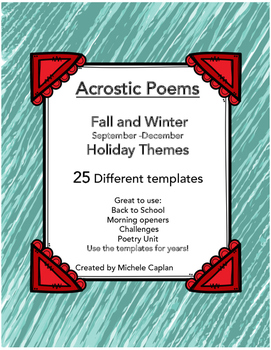 Acrostic Poems for Back to School Fall Holidays