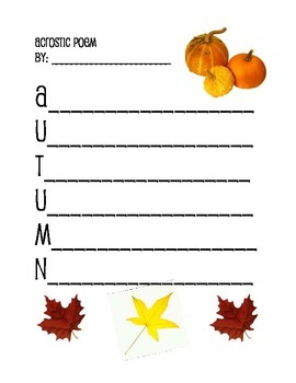 Acrostic Poems for all 4 Seasons ~ Autumn, Winter, Spring & Summer