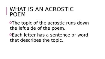 Editable Acrostic Poetry