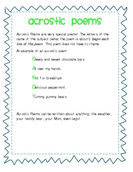 Acrostic Poetry!  A freebie!