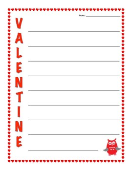 Acrostic Poetry Frame with Hearts for Valentine's Day - Valentine