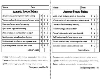 Acrostic Poetry Rubric