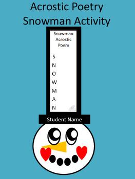 Acrostic Poetry Snowman Writing Art Activity
