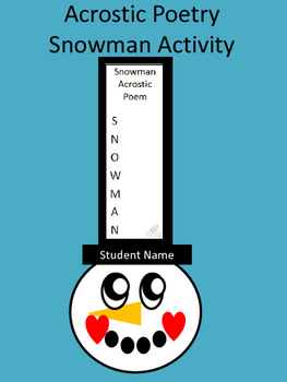 Acrostic Poetry Snowman Writing Art Activity