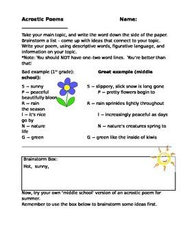Acrostic Poem - Poetry Worksheet
