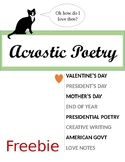 Acrostic Poetry for President's Day, Valentine's Day, Moth