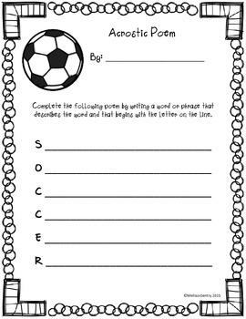 Acrostic Soccer Poem