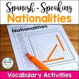 Spanish-Speaking Nationalities Vocabulary Activities