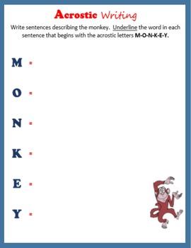 Acrostic Writing:  Animals
