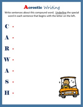 Acrostic Writing:  Compound Words
