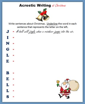 Acrostic Writing at Christmas