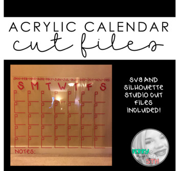 Acrylic Calendar Template for Silhouette Machine
