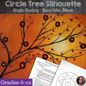 Acrylic Painting - Circle Tree Silhouette
