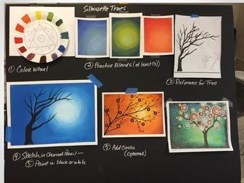 Acrylic Painting - Circle Tree Silhouette