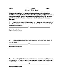 Act 2 Othello Quote Response Test