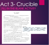 Act 3- The Crucible Fill-in-the-blank Summary Reading Activity