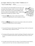 "Act Aspire Math Test Prep JE Word Problems ""Tina's Cookie Shop"" Gr. 3-5"
