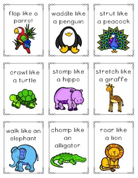 Act Like An Animal Movement Brain Break Cards