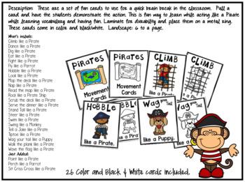 Act Like a Pirate Movement Cards/Brain Break