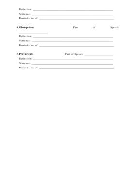 ACT Vocab Preparation Sheet 4