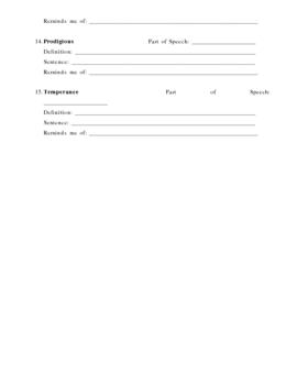ACT Vocab Preparation Sheet 6