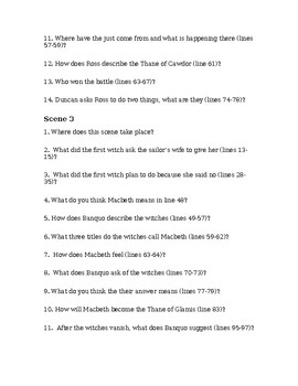 Act by Act Macbeth Questions for Guided Reading and Reading Comprehension