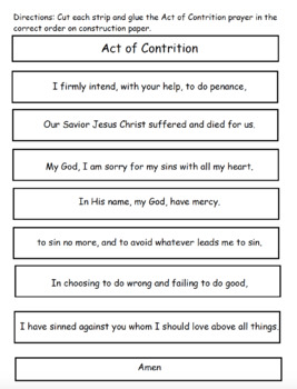 Act of Contrition Prayer Cut and Paste Activity