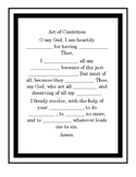 Act of Contrition Prayer Worksheet