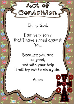 Act of Contrition ~ Sorry Prayer Posters, Worksheets and Interactive Activities