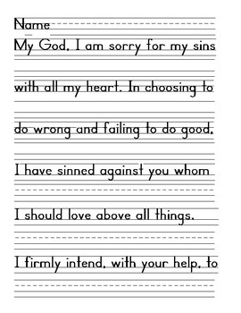 Act of Contrition Prayer Zaner Bloser Handwriting