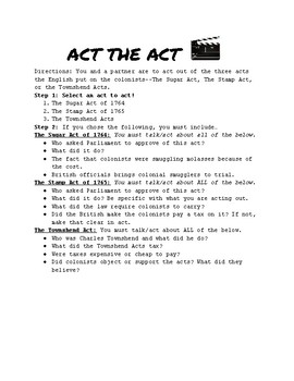Act the Act! Sugar, Stamp, and Townshend Acting Activity