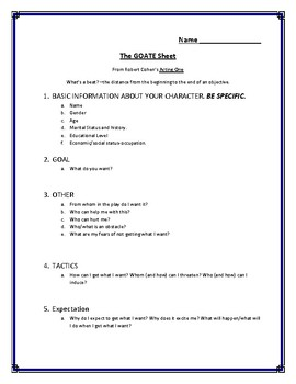 Acting Character Analysis GOATE Sheets