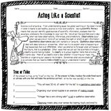 Acting Like a Scientist Worksheet