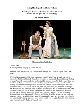 Acting Monologues from Chekhov