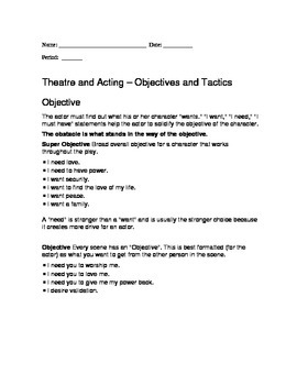 Acting Objectives and Tactics