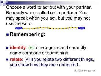 Bloom's Taxonomy Words Acting Vocabulary