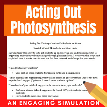 Acting out Photosynthesis Activity/Simulation