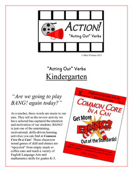 """Action!"" Acting Out Verbs Kindergarten Common Core Game"