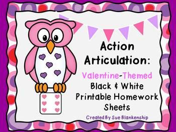 Action Articulation:  Valentine-Themed Homework Sheets