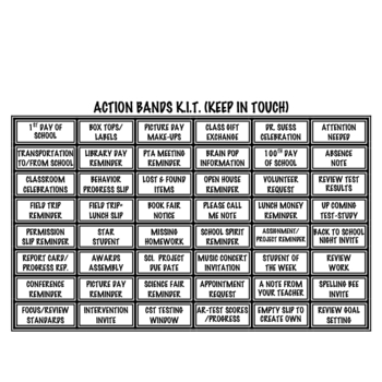 Action Bands K.I.T. (Keeping In Touch) Quick Communication Tool