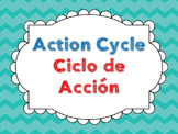 Action Cycle- Bilingual, Turquoise Chevron
