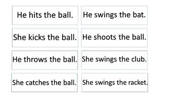 Action Flip Book - Match the Sentences