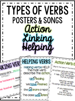 Action Helping Linking Verbs Posters and Songs
