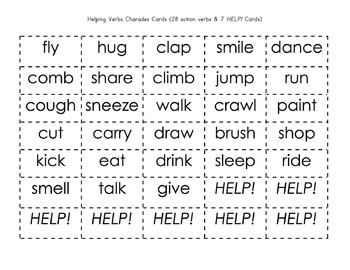 Verbs: Action & Helping Verbs Charades